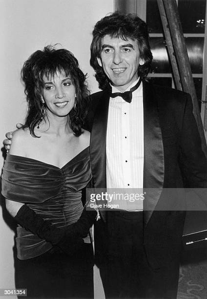 Former Beatle George Harrison with his wife Olivia at the Evening Standard Film Awards in London 28th January 1986