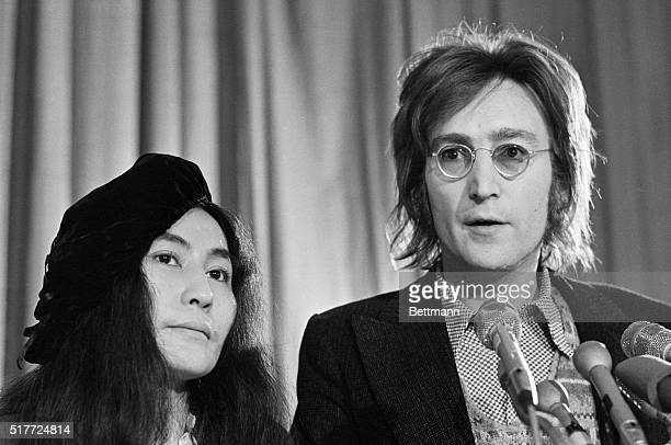 Former Beatle John Lennon and his wife Yoko Ono holds a news conference at the National Press Club April 28th New York Mayor John V Lindsay has...