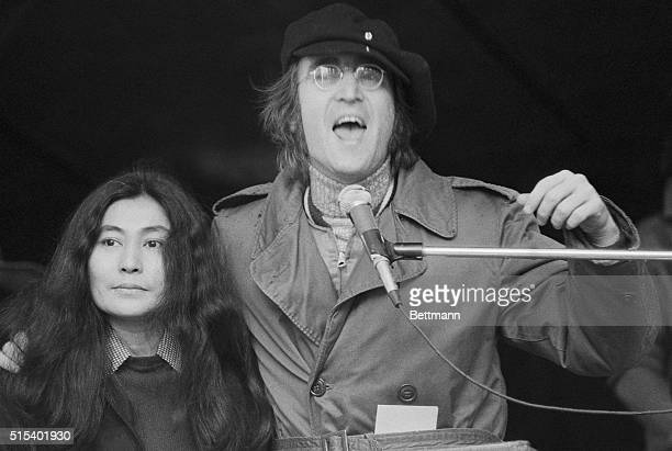 Former Beatle John Lennon and wife Yoko Ono address an antiwar rally in Manhattan's Bryant Park Over 50000 people attended the rally staged to...