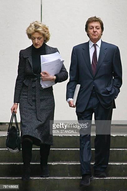 Former Beatle Paul McCartney and his lawyer Fiona Shackleton arrive at the High Court in London on February 14 2008 Paul McCartney's estranged wife...
