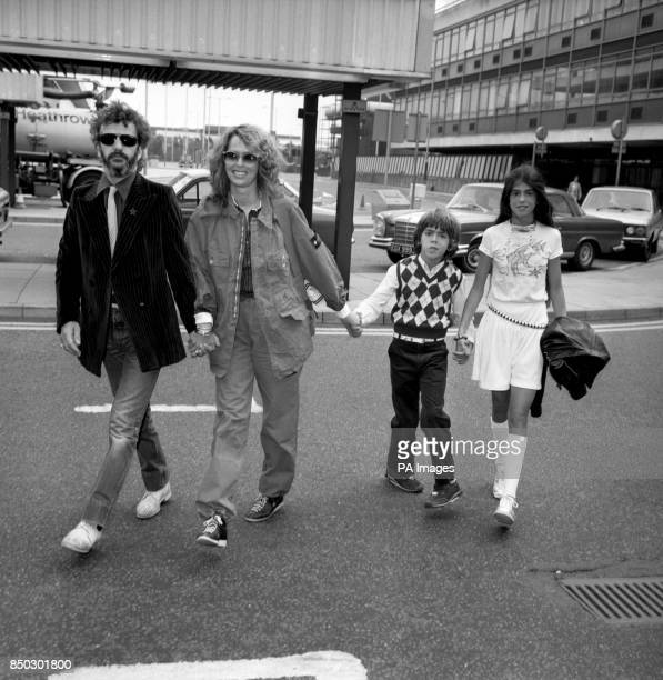 Former Beatles drummer Ringo Starr and his actress wife Barbara Bach at Heathrow Airport in London to fly to Los Angeles Travelling with the couple...