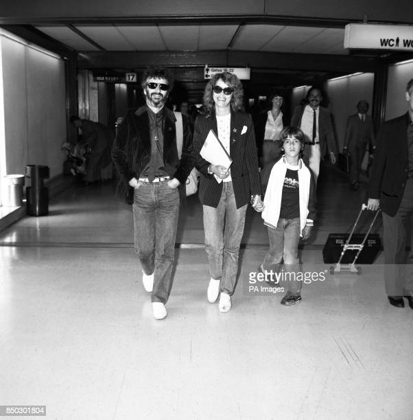Former Beatles drummer Ringo Starr with his actress wife Barbara Bach and her son Johnny at Heathrow Airport in London when they returned from Los...