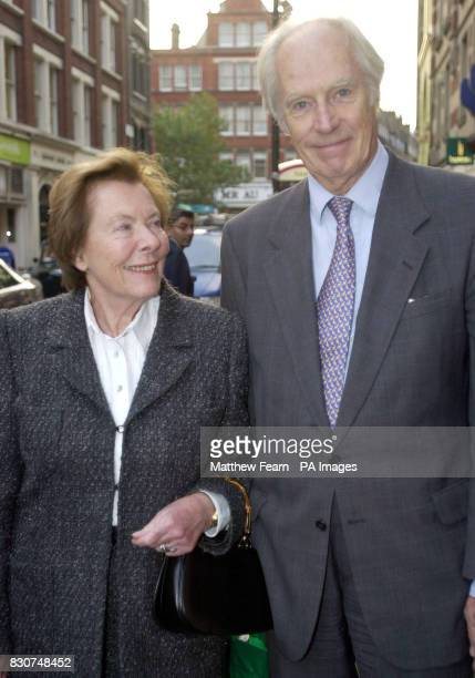 Former Beatles producer Sir George Martin and his wife Judy arrive at the Arts Theatre in central London for the memorial service of legendary...