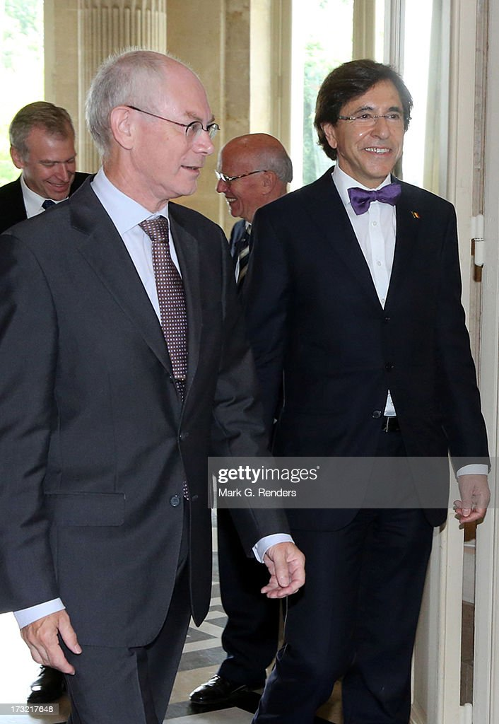 Former Belgiuan Prime Minister <a gi-track='captionPersonalityLinkClicked' href=/galleries/search?phrase=Herman+Van+Rompuy&family=editorial&specificpeople=4476281 ng-click='$event.stopPropagation()'>Herman Van Rompuy</a> (L) and Prime Minister of Belgium <a gi-track='captionPersonalityLinkClicked' href=/galleries/search?phrase=Elio+Di+Rupo&family=editorial&specificpeople=743705 ng-click='$event.stopPropagation()'>Elio Di Rupo</a> meet with former Belgian Prime Ministers at Laeken Castle on July 10, 2013 in Brussels, Belgium.