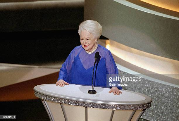 Former Best Actress Oscar winner Olivia de Havilland introduces other former winners in acting categories for a group presentation during the 75th...
