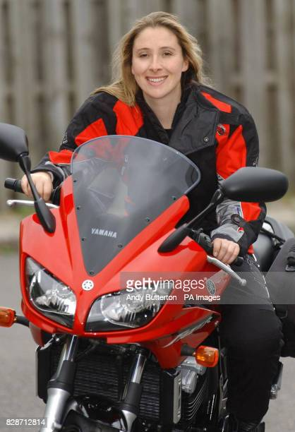 Former Big Brother contestant Elizabeth Woodcock on her new Yamaha motorbike before she heads off on a threemonthtour of the former communist 'Big...