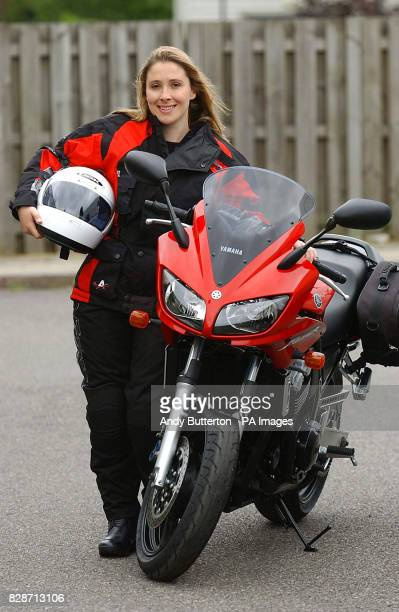 Former Big Brother contestant Elizabeth Woodcock on her new Yamaha FZ1 motorbike before she heads off on a threemonthtour of the former communist...