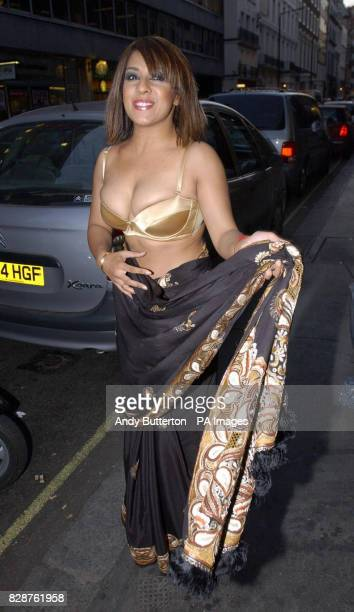 Former Big Brother contestant Narinder Kaur arriving at Nell's Bar in Dover Street London for 'A Night With Nick' a party in Aid of The Stroke...