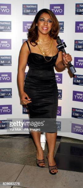 Former Big Brother contestant Narinder Kaur arriving at the Victoria Albert Museum for the 2003 EMMA Awards launch party