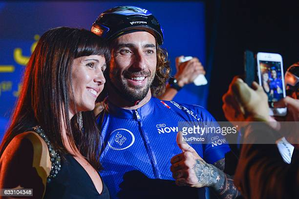 A former Bike Trial World Champion Vittorio Brumotti poses for a photo with fans at the Official Opening Ceremony of the 2017 Dubai Tour at the...