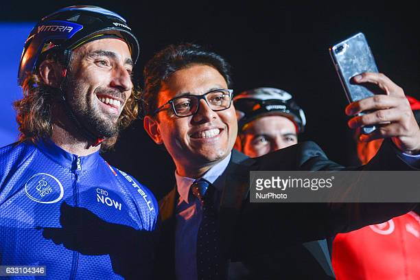 A former Bike Trial World Champion Vittorio Brumotti poses for a selfie with fans at the Official Opening Ceremony of the 2017 Dubai Tour at the...