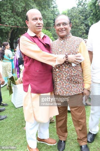 Former BJP MLA Vijay Jolly and Mukesh Gupta during the Teej festival celebrations organised at the residence of Union Minster Smriti Irani on July 25...
