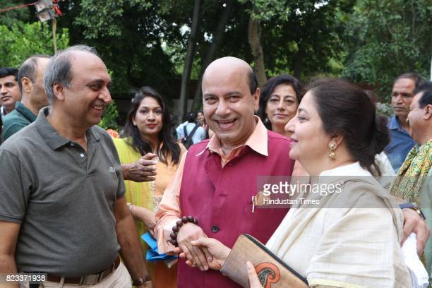Former BJP MLA Vijay Jolly during the Teej festival celebrations organised at the residence of Union Minster Smriti Irani on July 25 2017 in New...