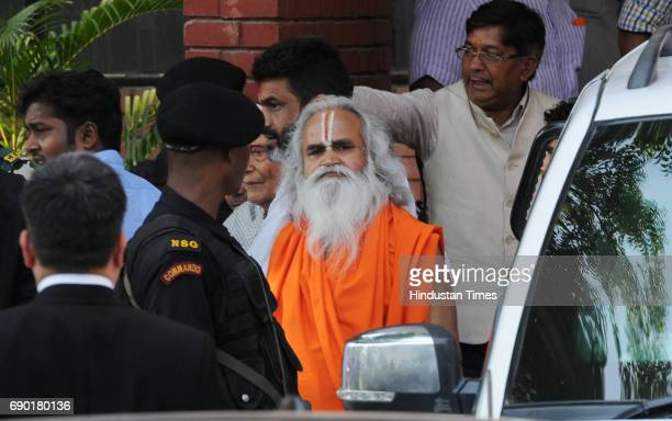 Former BJP MP Ram Vilas Vedanti after getting bail in Ayodhya Ram MandirBabri Masjid Demolition case at CBI court on May 30 2017 in Lucknow India...