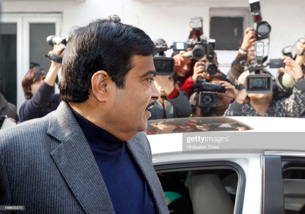 Former BJP President Nitin Gadkari arrives at BJP Headquarter, on January 23, 2012 in New Delhi, India. Rajnath Singh succeeds Nitin Gadkari, who decided against contesting for a second term following charges of alleged corruption.Rajnath Singh being elected as BJP President in the place of Former BJP President Nitin Gadkari.