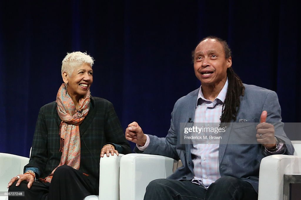 Former Black Panthers and film participants Ericka Huggins and Jamal Joseph speak onstage during 'The Black Panthers Vanguard of the Revolution'...