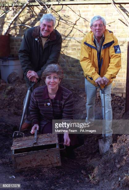 Former Blue Peter presenters Peter Purves Val Singleton and John Noakes in the Blue Peter Garden London after digging up a 2 time capsules buried in...