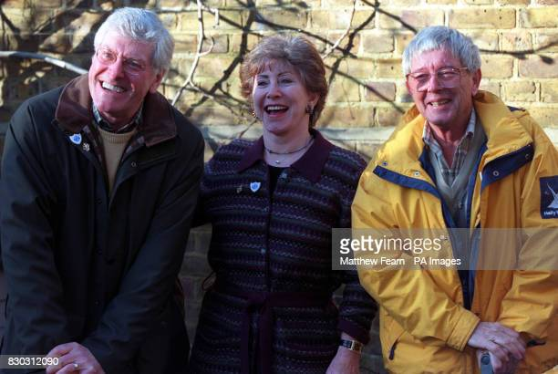 Former Blue Peter presenters Peter Purves Val Singleton and John Noakes in the Blue Peter Garden London after digging up 2 time capsules buried in...