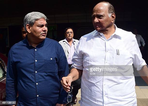 Former Board of Control for Cricket in India president Shashank Manohar and Sharad Pawar President of the Nationalist Congress Party leave the...