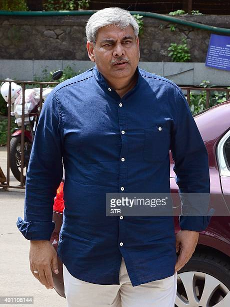 Former Board of Control for Cricket in India president Shashank Manohar arrives at the board's headquarters in Wankhede stadium in Mumbai on October...