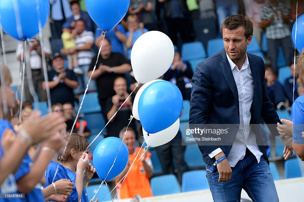Former Bochum player <a gi-track='captionPersonalityLinkClicked' href=/galleries/search?phrase=Christoph+Dabrowski&family=editorial&specificpeople=535661 ng-click='$event.stopPropagation()'>Christoph Dabrowski</a> cries during his discharge prior to the pre-season friendly match between VfL Bochum and Aston Villa at Rewirpower Stadium on July 14, 2013 in Bochum, Germany.