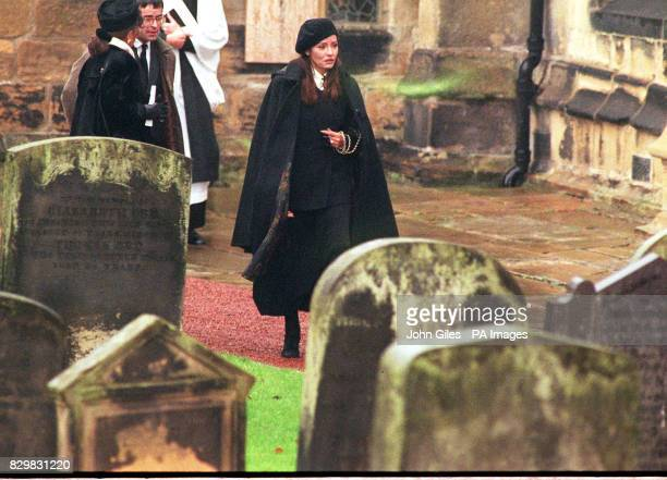 Former Bond Girl Barbara Carrera as she attends the memorial service at St Michael's Church nr Alnwick Castle for the Duke of Northumberland who died...