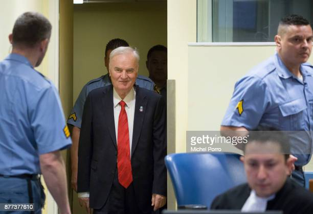 Former Bosnian military chief Ratko Mladic appears for the pronouncement of the Trial Judgement for the International Criminal Tribunal for the...
