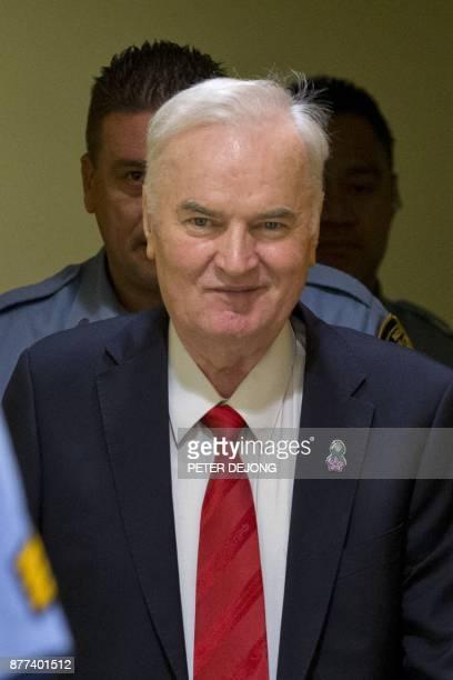 Former Bosnian Serb commander Ratko Mladic smiles as he enters the International Criminal Tribunal for the former Yugoslavia on November 22 to hear...