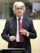 Former Bosnian Serb leader Radovan Karadzic appears in the courtroom of the ICTY War Crimes tribunal in the Hague on November 3 2009 Wartime Bosnian...