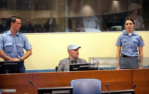 Former Bosnian Serb Military Leader Ratko Mladic gestures in the International Criminal Tribunal as he faces war crime charges on June 3 2011 in The...