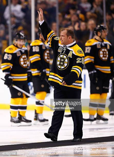 Former Boston Bruins player Mark Recchi is introduced prior to the game against the Washington Capitals during the game at TD Garden on March 6 2014...