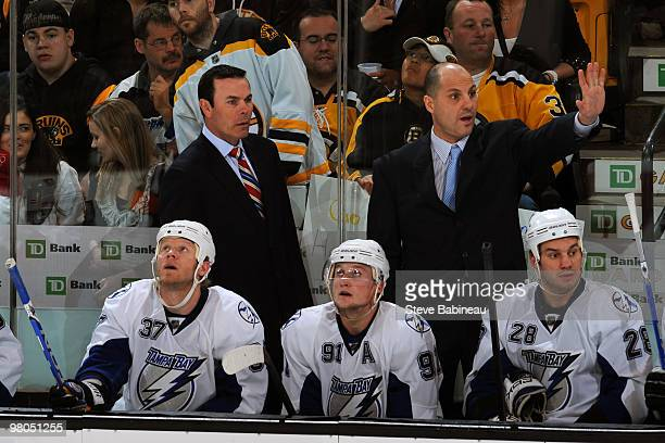 Former Boston Bruins players Adam Oates and Rick Tocchet coaching the Tampa Bay Lightning against the Boston Bruins at the TD Garden on March 25 2010...