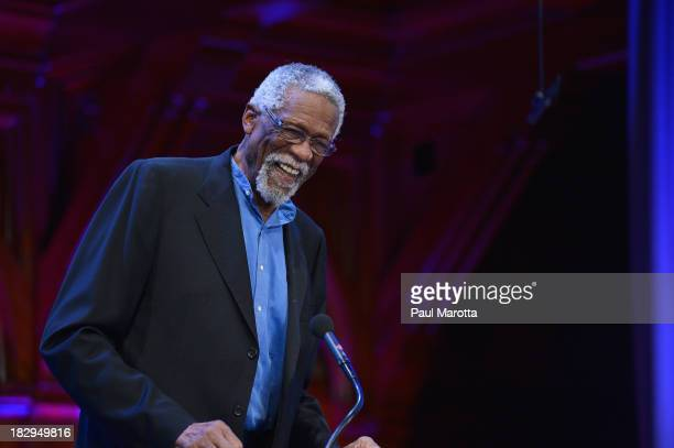 Former Boston Celtic and NBA Hall of Famer Bill Russell presents the 2013 WEB Du Bois Medal to NBA Commissioner David Stern at a ceremony at Harvard...