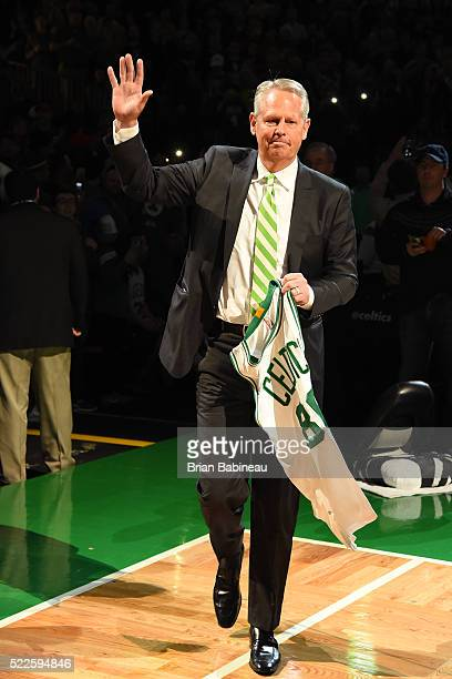 Former Boston Celtic Danny Ainge is honored before the game against the Miami Heat on April 13 2016 at the TD Garden in Boston Massachusetts NOTE TO...
