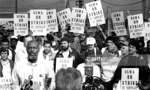 Former Boston mayoral candidate and Massachusetts State Representative Mel King speaking at left gives his support to striking bus drivers at the...