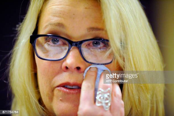 Former Boston news anchor Heather Unruh speaks at a press conference in Boston November 8 2017 during which she accused actor Kevin Spacey of...
