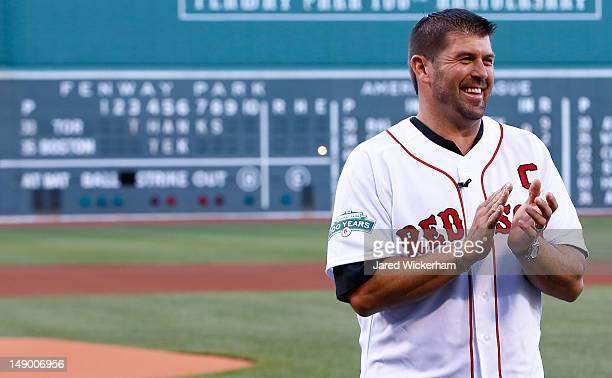 Former Boston Red Sox catcher and twotime World Series Champion Jason Varitek is honored on 'Thanks Tek Day' at Fenway Park on July 21 2012 in Boston...