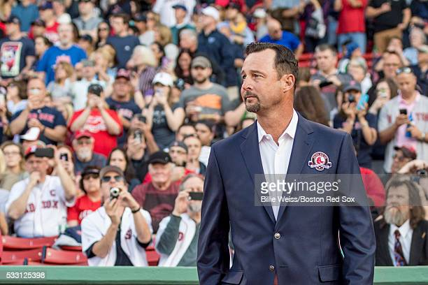 Former Boston Red Sox pitcher Tim Wakefield is introduced during a Red Sox Hall of Fame Class of 2016 ceremony before a game between the Boston Red...
