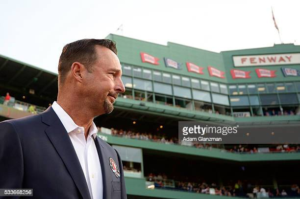 former Boston Red Sox pitcher Tim Wakefield looks on during a Red Sox Hall of Fame Class of 2016 ceremony before a game between the Boston Red Sox...