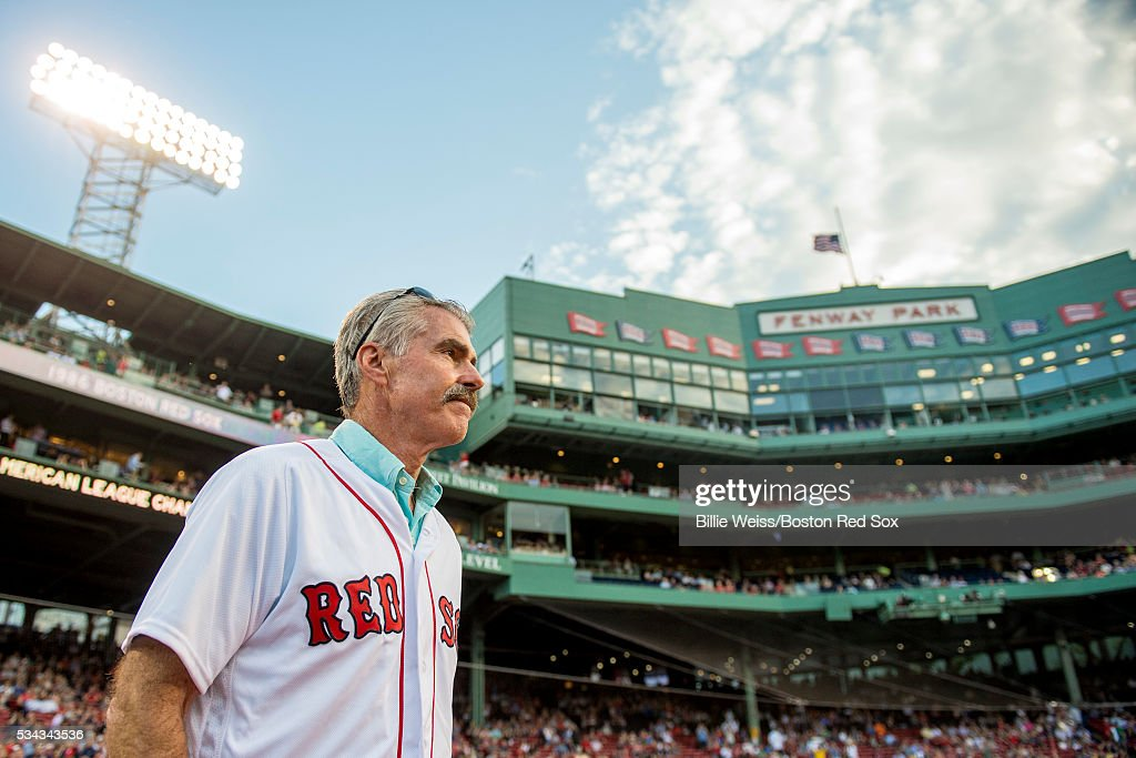 Former Boston Red Sox player Bill Buckner is introduced during a 1986 20-year team reunion before a game between the Boston Red Sox and the Colorado Rockies on May 25, 2016 at Fenway Park in Boston, Massachusetts.