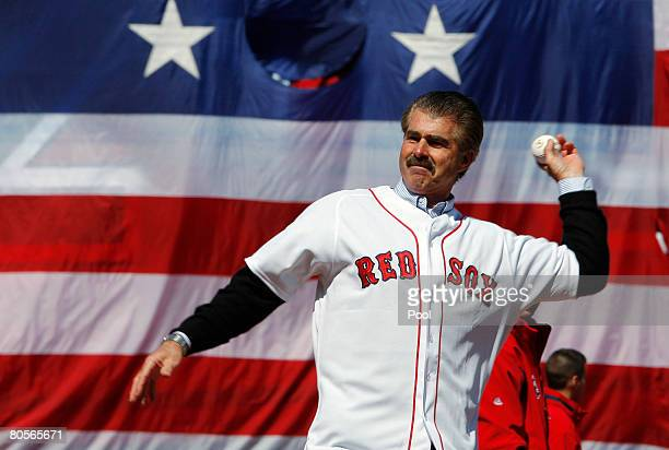 Former Boston Red Sox player Bill Buckner throws out the ceremonial first pitch at the MLB baseball game between the Boston Red Sox and Detroit...