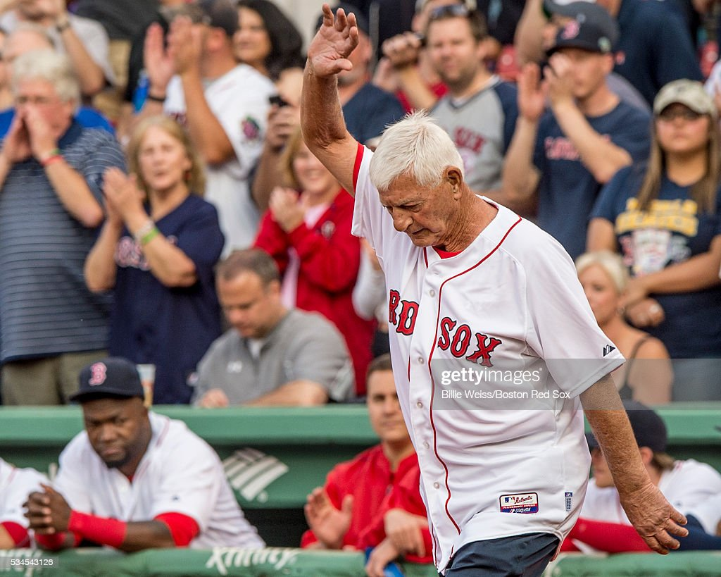 Former Boston Red Sox player Carl Yastrzemski is introduced during a number retirement ceremony for former Boston Red Sox third baseman Wade Boggs before a game between the Boston Red Sox and the Colorado Rockies on May 26, 2016 at Fenway Park in Boston, Massachusetts.