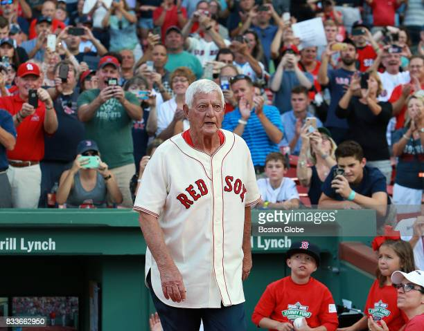 Former Boston Red Sox player Carl Yastrzemski is pictured as he and other members of the 1967 'Impossible Dream' team are honored before the start of...