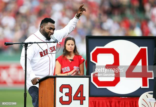 Former Boston Red Sox player David Ortiz speaks during his jersey retirement ceremony before a game against the Los Angeles Angels of Anaheim at...