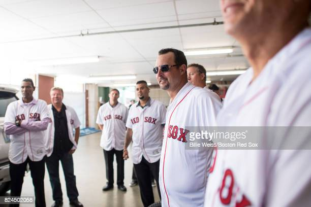 Former Boston Red Sox player Tim Wakefield looks on during a 2007 World Series Champion team reunion before a game against the Kansas City Royals on...