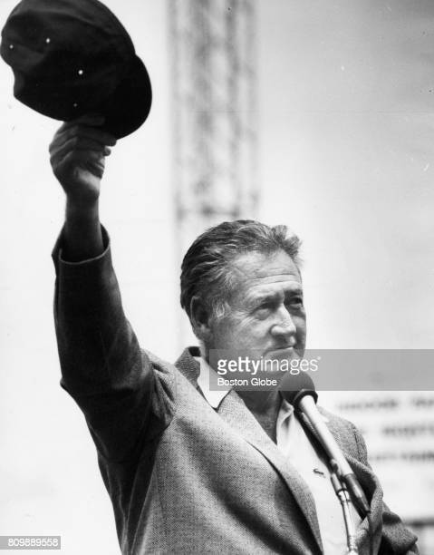 Former Boston Red Sox Ted Williams tips his cap on Ted Williams Day at Fenway Park in Boston on May 12 1991 The day was in honor of the 50th...