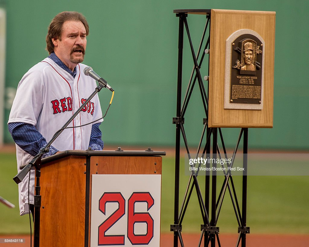 Former Boston Red Sox third baseman <a gi-track='captionPersonalityLinkClicked' href=/galleries/search?phrase=Wade+Boggs&family=editorial&specificpeople=209175 ng-click='$event.stopPropagation()'>Wade Boggs</a> speaks as his number is retired during a special ceremony before a game between the Boston Red Sox and the Colorado Rockies on May 26, 2016 at Fenway Park in Boston, Massachusetts.