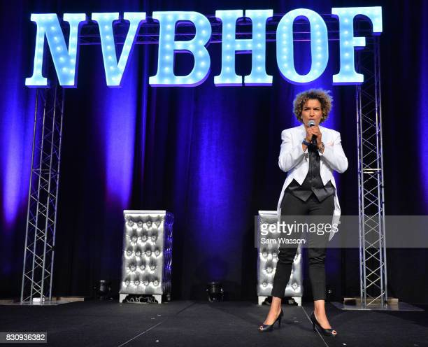 Former boxer and actress Lucia Rijker speaks as she in inducted into the Nevada Boxing Hall of Fame at the fifth annual induction gala at Caesars...