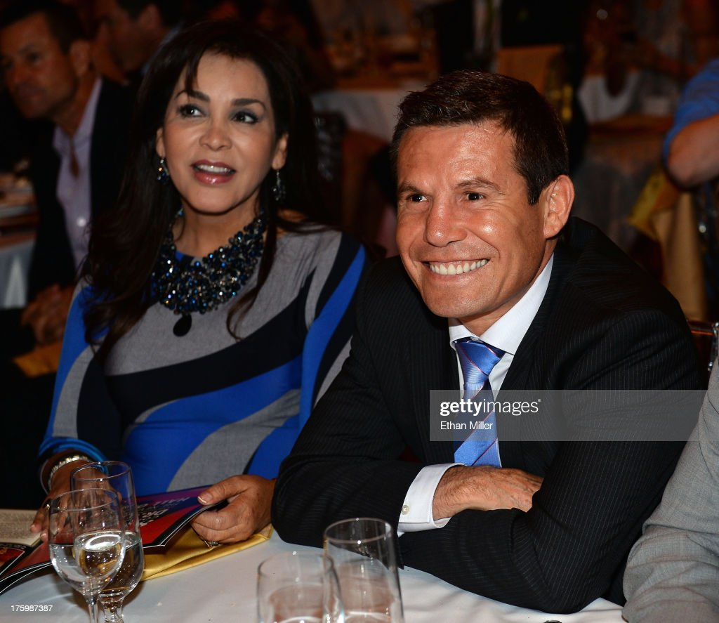Former boxer and inductee Julio Cesar Chavez (R) smiles as as listens to referee Joe Cortez being inducted into the Nevada Boxing Hall of Fame during the inaugural induction gala at the Monte Carlo Resort and Casino on August 10, 2013 in Las Vegas, Nevada.