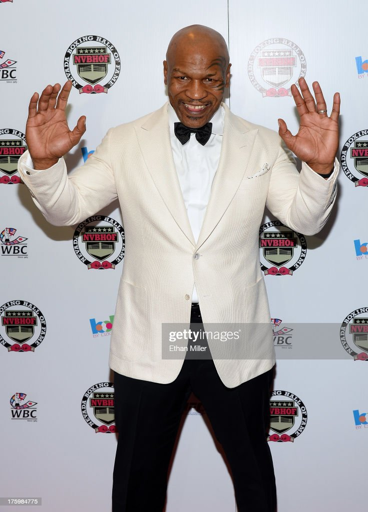 Former boxer and inductee <a gi-track='captionPersonalityLinkClicked' href=/galleries/search?phrase=Mike+Tyson&family=editorial&specificpeople=194986 ng-click='$event.stopPropagation()'>Mike Tyson</a> arrives at the Nevada Boxing Hall of Fame inaugural induction gala at the Monte Carlo Resort and Casino on August 10, 2013 in Las Vegas, Nevada.